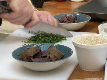 Fresh herbs chopped while making haggis